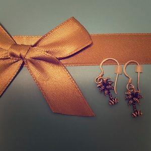 Palm silver earrings